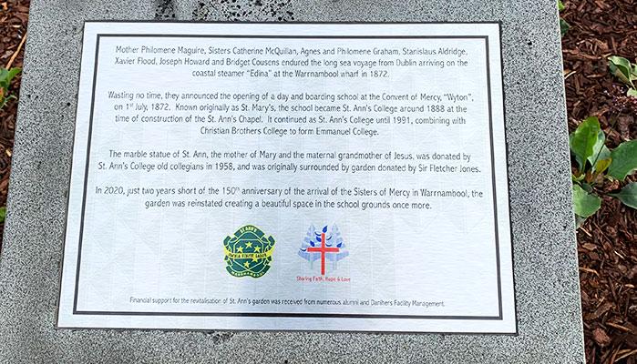 Emmanuel College garden plaque
